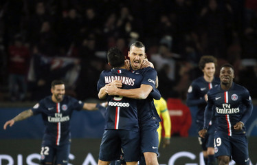 Paris St Germain's Ibrahimovic celebrates after scoring during their French Ligue 1 soccer match against FC Nantes in Paris