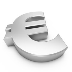 3D Rendering silver Euro Sign isolated on white background
