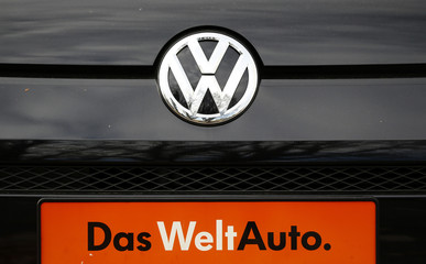 File photo of VW logo on the back of a vintage Volkswagen car at a car shop in Bad Honnef