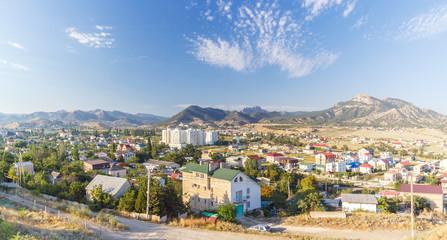 Город Судак в Крыму ранним утром