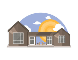 Sea Side, Mountain Side Summer Landscape With House, Table and Chairs, Shiny sun and Clouds  in Flat Design
