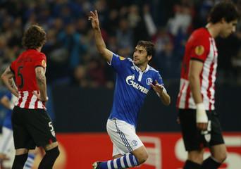 Schalke 04's Raul celebrates a goal against Athletic Bilbao during the Europa League quarter-final match in Gelsenkirchen