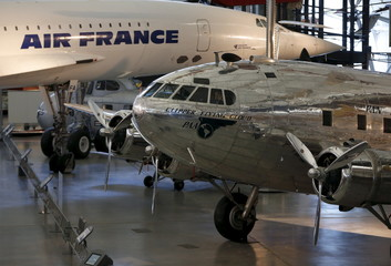 A Boeing 307 Stratoliner, the first pressurized cabin passenger aircraft, and an Air France Concorde supersonic airliner, are seen at the Udvar-Hazy Smithsonian National Air and Space Annex Museum in Chantilly