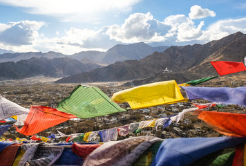 The city of Leh,  Leh city is located in the Indian Himalayas at an altitude of 3500 meters.  viewed from Leh Palace