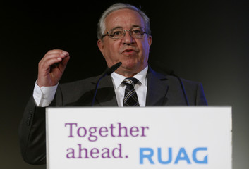 RUAG Holding Chairman of the Board Peter addresses the company's annual news conference in Zurich