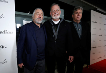 "Cast member De Niro, director Hackford and Co-President of Sony Pictures Classics Bernard pose at a premiere for the movie ""The Comedian"" at Pacific Design Center in Los Angeles"