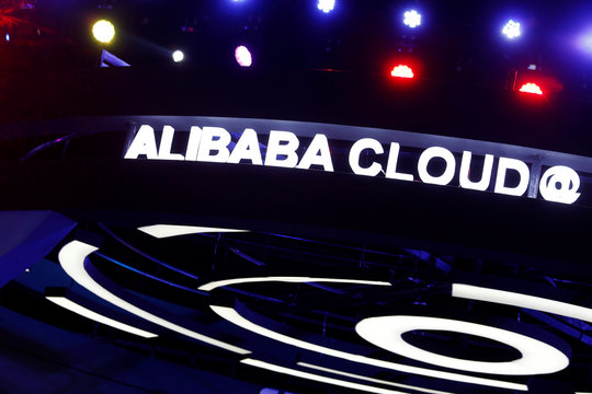 A booth introducing Alibaba Cloud services is seen at an exhibition venue during Alibaba Group's 11.11 Singles' Day global shopping festival in Shenzhen