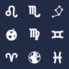 Set Of 9 Galaxy Icons Set.Collection Of Lunar, Fishes, Lion And Other Elements.