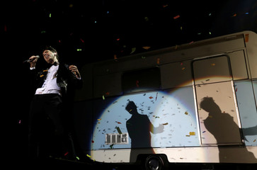British singer Mika performs on stage in Riga