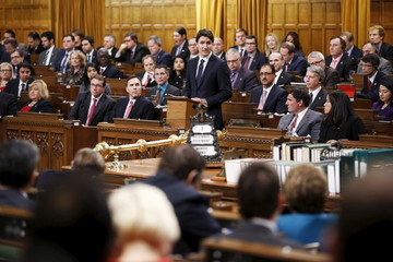 Canada's PM Trudeau speaks in the House of Commons in Ottawa