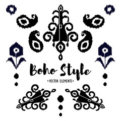 Set of Ornamental black and white Boho Style Elements. Vector illustration.