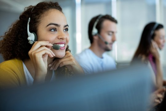 Customer service executive working