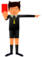 Referee holding a red card vector image