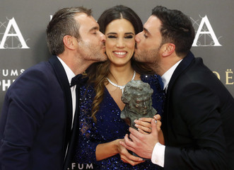 "Santisteban, Martinez and Rivera celebrate winning their Goya award for Best Original Song for the song ""Nino sin Miedo"" during the Spanish Film Academy's Goya Awards ceremony in Madrid"