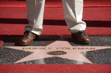 Dabney Coleman stands on his star on the Hollywood Walk of Fame in Los Angeles