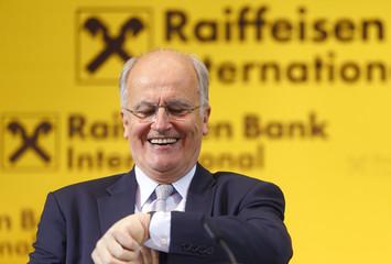 Sevelda, Chief Executive of Austrian lender Raiffeisen Bank International, arrives for a news conference in Vienna