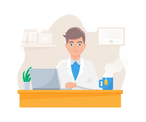 Vector illustration of a medical doctor sitting at the table