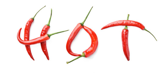 red chili peppers creating the word hot