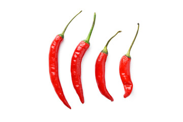 Photo sur cadre textile Hot chili Peppers line of hot chili peppers on white background