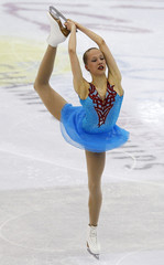 Turkkila of Finland performs during the women's short program at the ISU World Figure Skating Championships in Nice
