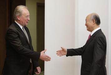 International Atomic Energy Agency (IAEA) Director General Yukiya Amano meets with Belarussian Foreign Minister Sergei Martynov in Minsk