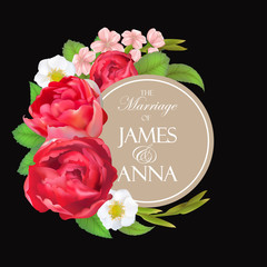 Floral vector round frame with cherry flowers, peony rose, blooming strawberry, green plants. Pink, burgundy red and white flowers. Half moon shape bouquet. All elements are isolated and editable.