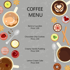 Main restaurant menu template with different Cups of coffee and sweets. Vector illustration eps 10