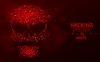 Hacking system. Abstract, luminous skull of red color from programming symbols. Hexadecimal number system. The data is under threat. Vector illustration