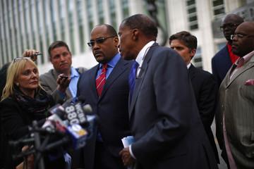State Senator John Sampson leaves U.S. District Court in the Brooklyn borough of New York