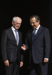 Greece's PM Samaras welcome European Council chairman Rompuy in Athens