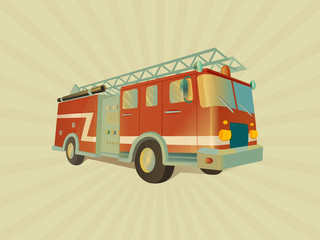 Transport. Isolated red fire engine on four wheels, illuminated with a light of fire.  Detailed image of firefighting vehicle. Main device of firefighters in cartoon style. Vector.