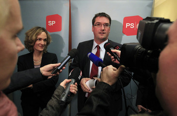 Levrat President of the SP and SP faction President Wyss attend a news conference after a faction meeting in Bern