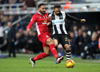 Jesús Gámez of Newcastle United is tackled by Liam Feeney of Blackburn Rovers