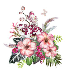 Tropical watercolor flowers. card with floral illustration - orchid, hibiscus. Bouquet of flowers isolated on white background. Leaf, butterfly and buds. Exotic composition for invitation