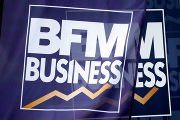 The logo of French news channel BFM Business is seen at the MEDEF union summer forum on the campus of the HEC School of Management in Jouy-en-Josas
