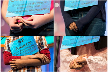 Combination photo shows spellers clasping their hands during the semi-final round of the 88th annual Scripps National Spelling Bee