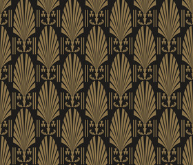Art Deco Wallpaper. Modern pattern seamless dark black colors. Tile design pattern seamless. Background vector.