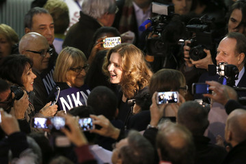Nathalie Kosciusko-Morizet, conservative UMP political party candidate for the mayoral election in Paris arrives at a campaign rally in Paris