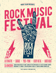 Rock Festival Flyer Poster. Vintage styled vector illustration.