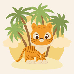 Cute little tiger cub