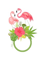 Cute frame with hibiscus and lovely pair of pink flamingo