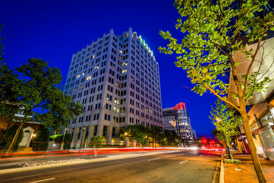 Wisconsin Avenue at night, in downtown Bethesda, Maryland.