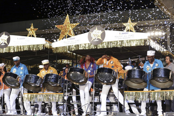 "Confetti falls as members of the Massy Trinidad All Stars steelband play ""Unquestionable"" to win the large band category during the National Panorama in Port-of-Spain"