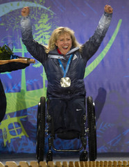 Victor of the U.S. celebrates her silver medal during medal ceremonies at the 2010 Paralympic Winter Games in Whistler