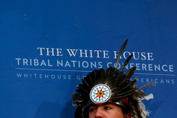 White takes part in a panel discussion with U.S. President Barack Obama during the annual White House Tribal Nations Conference in Washington