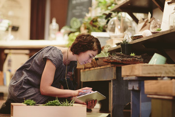 Female worker using tablet computer while examining plants at garden center