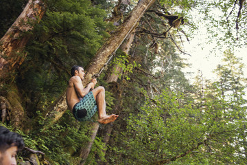 Low angle view of man swinging on rope in forest