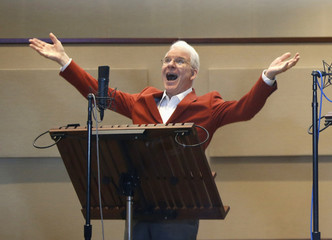 Actor Steve Martin voices a character from movie 'Home' at studio in Glendale, California