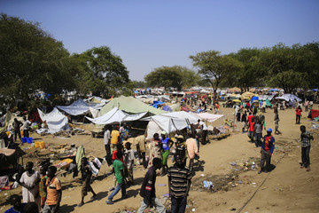 A general view of a camp for displaced people set up in a United Nations compound in Bor