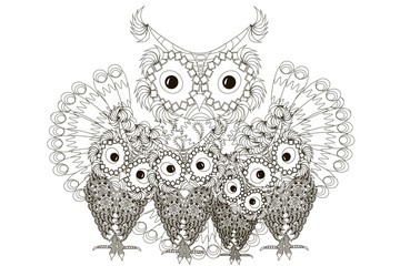 Zentangle stylized black and white four owls, hand drawn family stock vector illustration